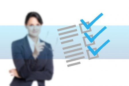business woman evaluating objectives